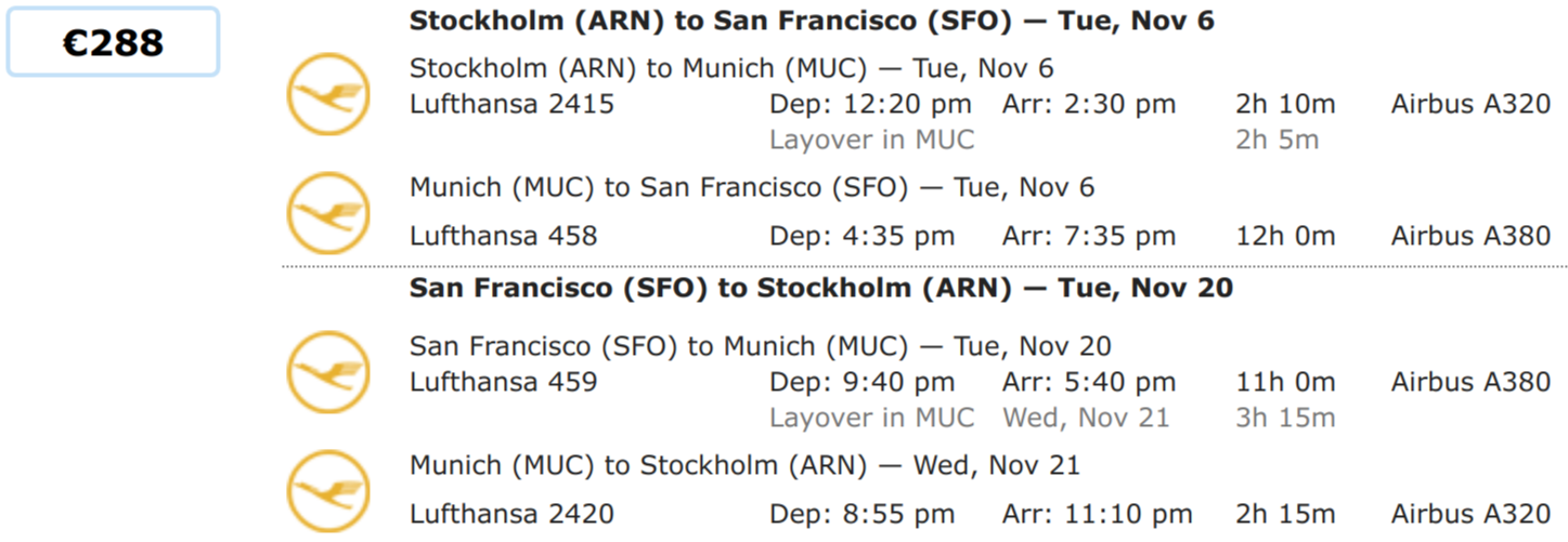 Roundtrip from Stockholm to San Francisco