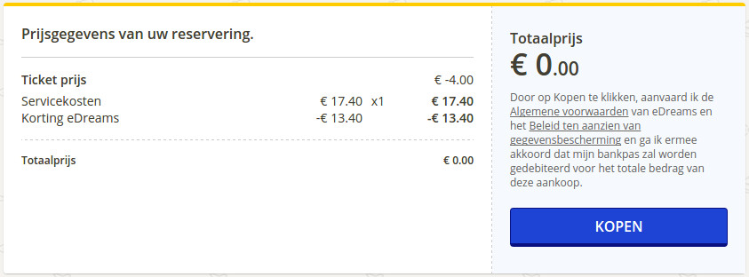 booking of a free Ryanair flight at eDreams